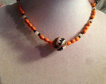 Orange and Black Necklace - Southwestern Jewelry - Silver Jewellery - Wood - Fashion - Trendy