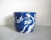 Vintage Asian planter/ blue and white planter/Japanese design
