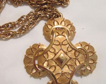 vintage CROWN Trifari modernist GOLD tone statement long PENDANT necklace