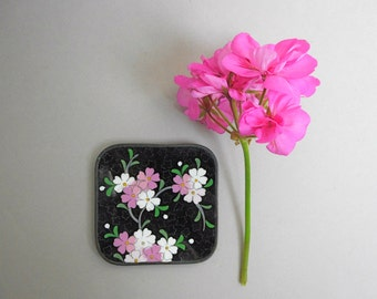 "Vintage Cloisonne Enamel Small Plate Black with Cherry Blossoms Pink White on Copper 3.5"" Square Asian Home Decor Pin or Trinket Dish"
