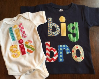 Big Bro Lil Sis Shirt Set - Sibling Shirts,  Brother Sister Set -Pregnancy Announcement - Choose Color & Sleeve Length