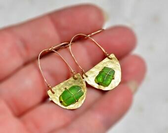 Hammered Earrings Brass Earrings. Long Earrings. Crescent Earrings Green Earrings Beach Glass Earrings Gold Filled Ear Hooks Israeli Jewelry