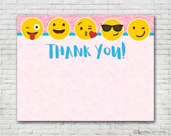 Pink Sparkles Emoji Thank You Card