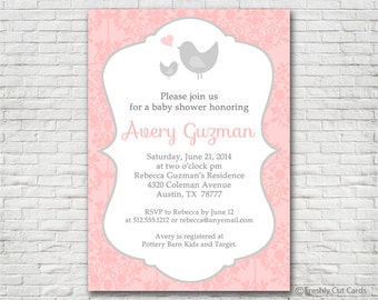 Little Birdies Baby Shower Invitation - Printable or Printed (w/ FREE Envelopes)