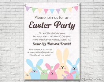 Lots of Bunnies Easter Party Invitation - Printable or Printed (w/ FREE Envelopes)