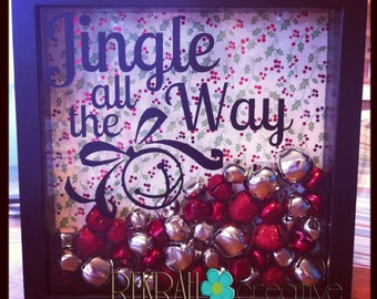 SALE! Jingle All the Way 9x9 Shadow Box VINYL Lettering  ONLY