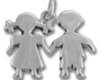 Boy and Girl Charm - Sterling Silver