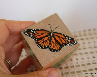 The Monarch Butterfly Lifecycle Block -   handpainted wood block