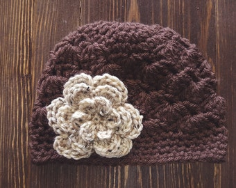 Girls Hat, Brown and Tan Girl Hat, Newborn Girl Hat, Crochet Baby Hat, Crochet Girls Hat, Baby Girl Hat, Baby Hat for Girls
