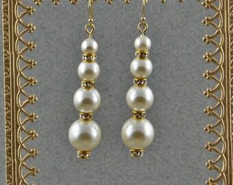 Handmade  Swarovski Solid Ivory Glass  Pearl Dangle Earrings On Gold Hooks