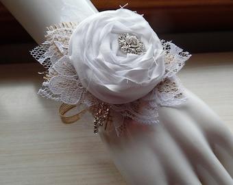 Shabby Chic White Rose Wrist Corage, cotton fabric roses, burlap, rhinestones, white lace. Made to Order.