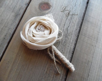 Rustic Boutonniere, Ivory Cotton Rose, Rhinestones, Burlap, Lace, Jute, Twine.