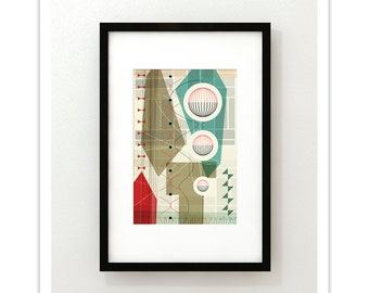PASTICHE no.10 - Giclee Print - Mid Century Modern Danish Modern Abstract Art Eames Style
