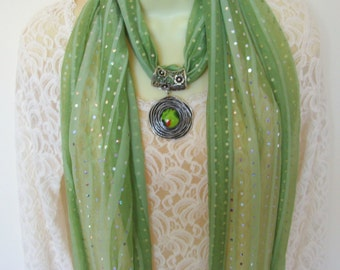 Fashion scarf with jeweled scarf slide