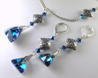 Bermuda Blue Triangle Swarovski Necklace and Earring Set on Sterling Silver