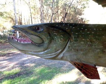 """Northern Pike MOBILE 40"""" wooden detailed 3D pike chainsaw carving Lake retreat fishing home decor original hand carved trophy fish"""