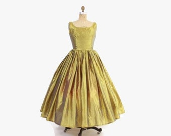 Vintage 50s Party DRESS / 1950s Iridescent Olive Green Shimmery Silk Full Skirt Gown M