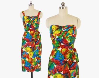 Vintage 50s HAWAIIAN Sarong DRESS / 1950s Novelty Butterfly Print Strapless Sun Dress XS