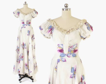 Vintage 40s Floral DRESS / Early 1940s Lace Ruffled Cotton Garden Party Maxi Dress XS