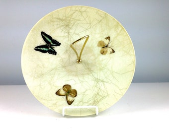 Mid Century Modern Fibreglass Serving Tray, Mod Fiber Glass Tid Bit Platter with Butterflies