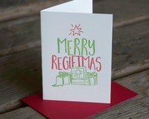 Merry Regiftmas holiday card, letterpress printed, eco friendly
