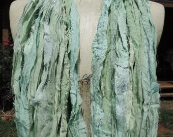Beautiful And Soft Pale Greens Colored Sari Ribbon Yarn 55-60 Yards