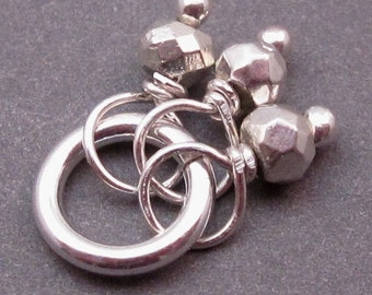 Silver Pyrite Trio, Wire Wrap Pendant, Bracelet Charm, Necklace Pendant with Sterling Silver Jump Ring