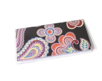 Checkbook Cover Navy Blue Floral