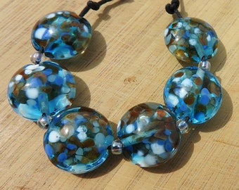 Sea Breeze - lampwork bead set