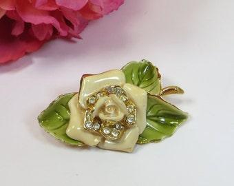 Cream Enamel Rhinestone Crystal Rose Brooch Pin, Vinage Flower Rose Broch Pin with Rhinestone Crystal, Rose w Leaf Vintage Flower Brooch Pin