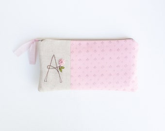 Pink Monogram Clutch, Monogrammed Zipper Bag, Gift for Her, Clutch Purse, Letter A READY TO SHIP