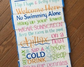 Pool Rules sign, outdoor wooden pool sign