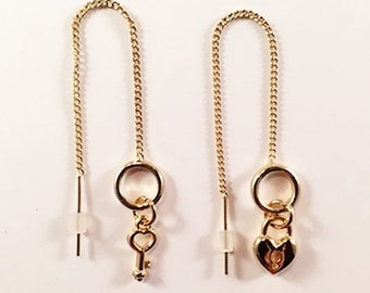 Heart and Key gold tone threader earrings!