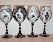 Bearded Collies Hand Painted Wine Glasses Custom Pet Portrait of Your Dog, Cat, Horse, Your Pet, Set of  4 - 20 oz. Wine Glasses