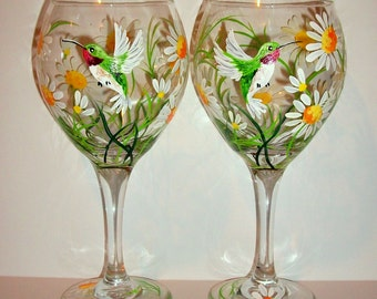 Springtime White Daisies and Hummingbirds  Hand Painted Wine Glasses Set of 2 / 20 oz. Handpainted Wine Glasses