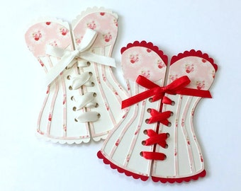 Sweetheart Corset Lingerie Card / Invitations for Bridal Shower or Bachelorette party, set of 6