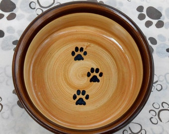 Paw Print Bowl w/ Lip in Chocolate Brown & Tan (Medium+)