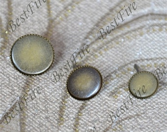 12pcs 8mm,10mm,12mm Antique brass Earring Posts With Round  Pad,Earring Stud,cabochon earring setting,Jewelry Making Findings