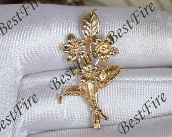 2pcs 24K Gold plated Brass Flower branch Pendant,flower pendant Connector,necklace Connector loose bead, Charms Jewelry finding beads
