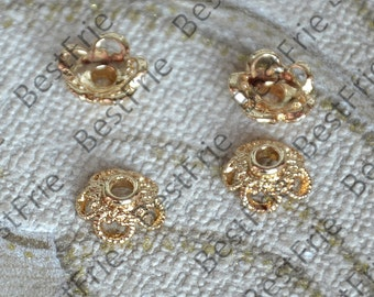10 pcs 9mm 24K Gold plated Brass Charm Flower Bead Cap, Brass Bead Cap, Charms Jewelry Findings, Simple Bead Cap