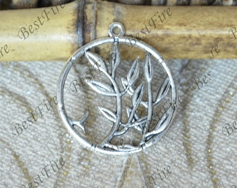 12pcs Leaf Charms Antique Silver Tone Branch Circle, Charms Fingdings pendant,jewelry pendant finding