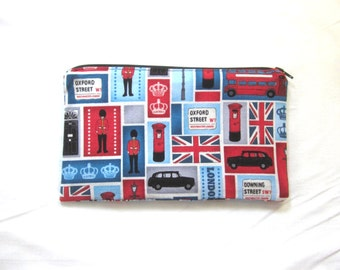 London Fabric Zipper Pouch / Pencil Case / Make Up Bag