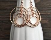RESERVED for Mitzi, Rose Gold fill multi hoop earrings