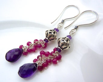 Ruby and Amethyst Cluster Chandelier Earrings. Gemstone Earrings. Bali Silver Earrings. Pink and Purple Earrings. February birthstone.