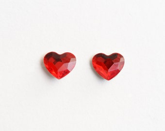 Red Heart Earrings, Crystal Stud Earrings