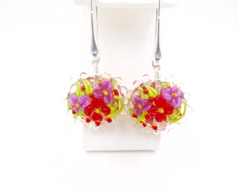Lampwork Earrings, Glass Bead Earrings, Lavender Red Unique Earrings, Statement Earrings, Beadwork Earring,Lampwork Jewelry, Flower Earrings