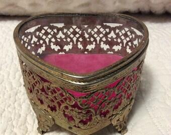 20% OFF SALE Vintage Gold Filigree JEWELRY Casket Box Ormolu Heart Beveled Glass Footed Pink Velvet
