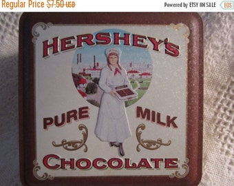15% SALE Vintage HERSHEY CHOCOLATE Tin Container with Vintage Candy Clerk Brown Cream Americana Advertising