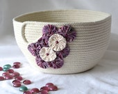 Pretty Yarn Bowl, Handmade Rope Basket, Modern Clothesline Basket, Lovely Candy Bowl,  hand coiled natural rope basket