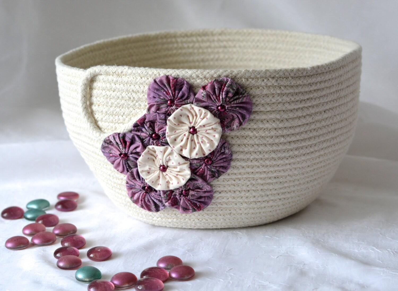 Handmade Rope Basket : Pretty yarn bowl handmade rope basket modern clothesline
